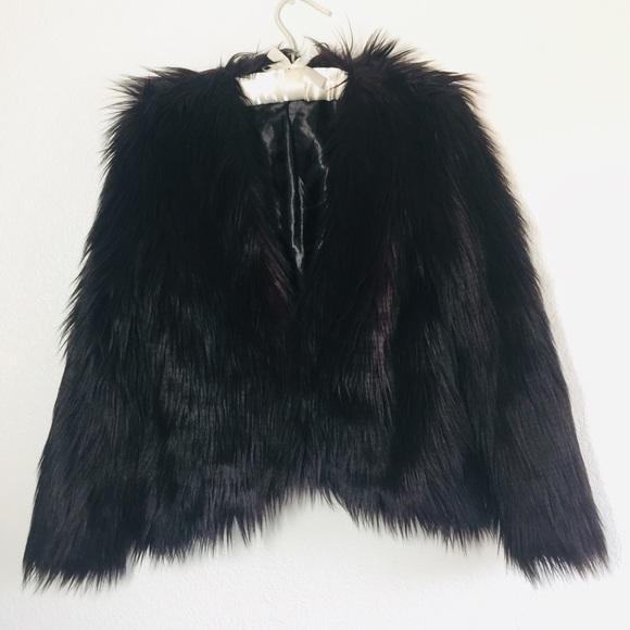 H&M Jackets & Blazers - H&M Purple/Black Faux Fur Cropped Jacket Shaggy